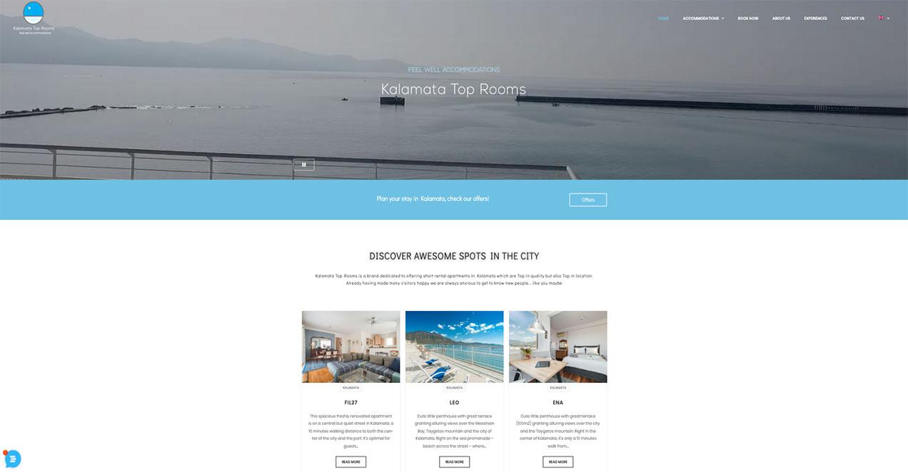 Indevin creative agency – Websites - Virtual Tours - Kalamata Top Rooms